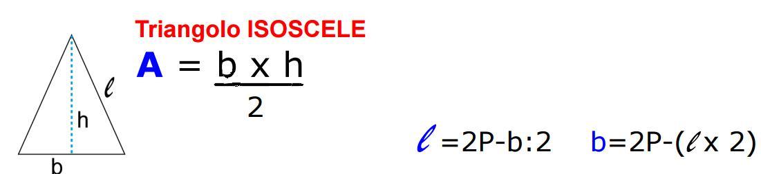 formule inverse triangolo isoscele