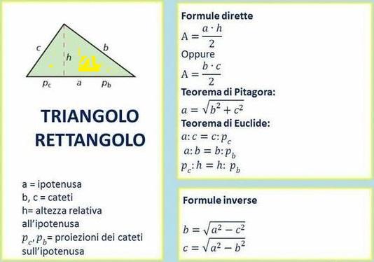formule inverse triangolo rettangolo