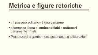 IL PASSERO SOLITARIO FIGURE RETORICHE
