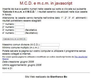 ONLINE PER CALCOLARE MCD MCM