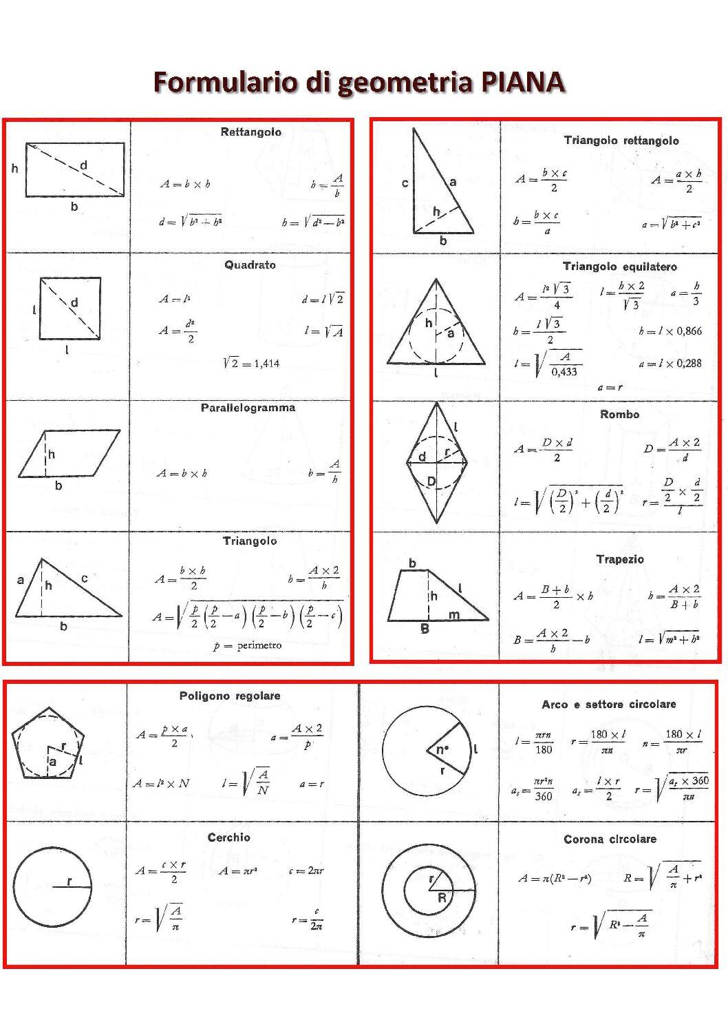 formulario geometria piana pdf stampabile