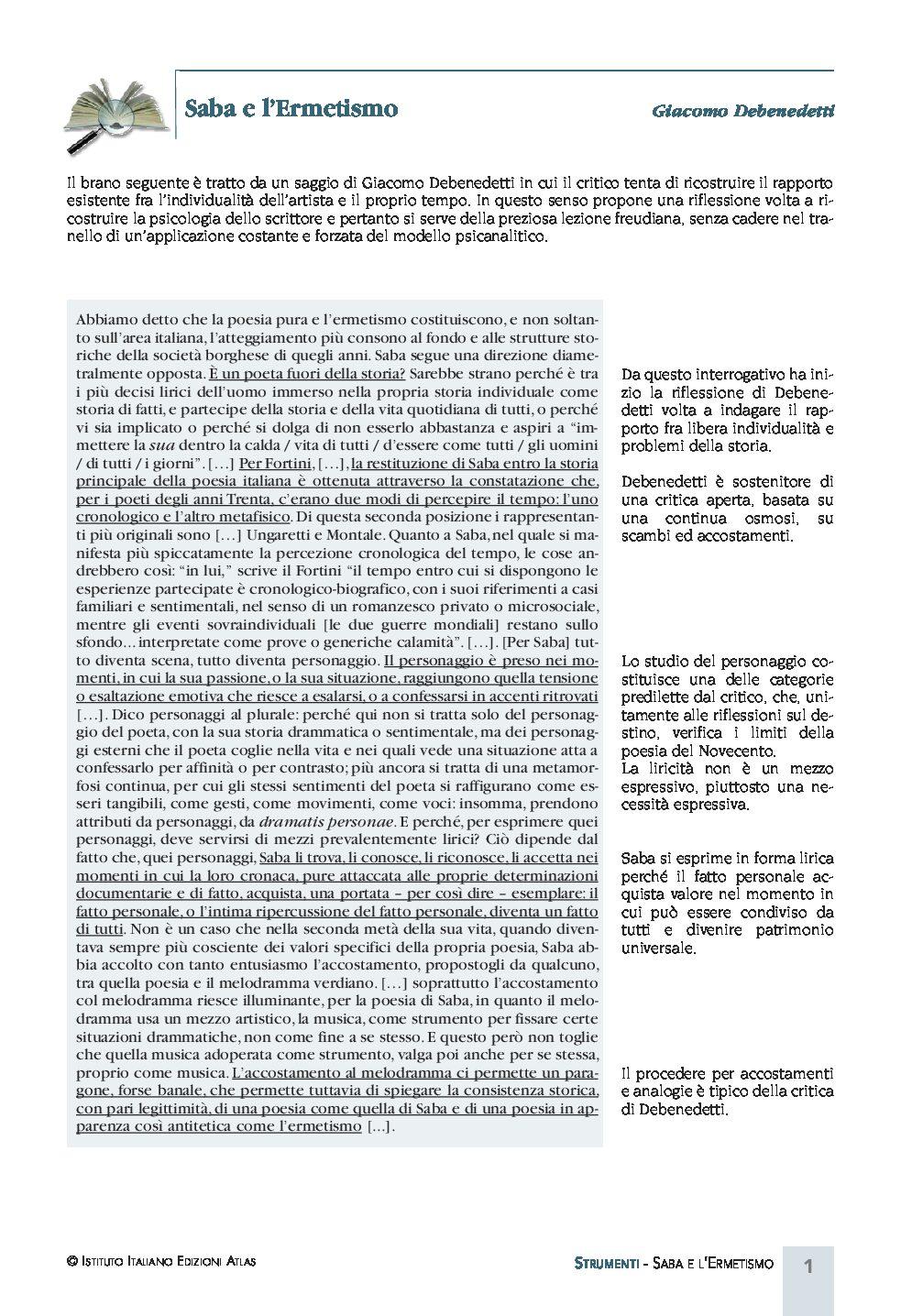 SABA E L'ERMETISMO PDF