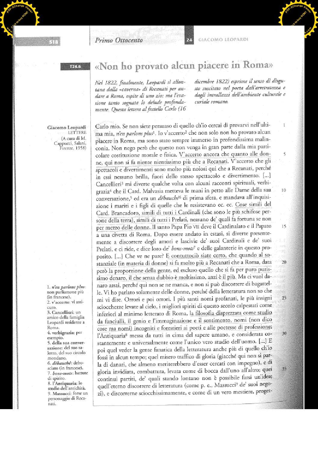 LEOPARDI LETTERA AL FRATELLO CARLO